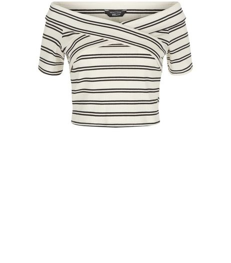 Teens White Stripe Cross Over Bardot Neck Top | New Look