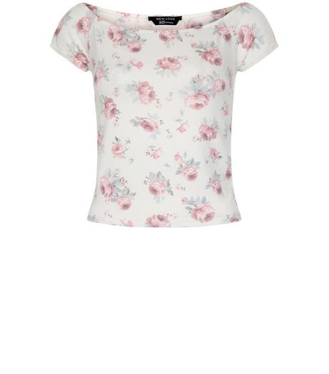 Teens White Rose Print Bardot Neck Top | New Look