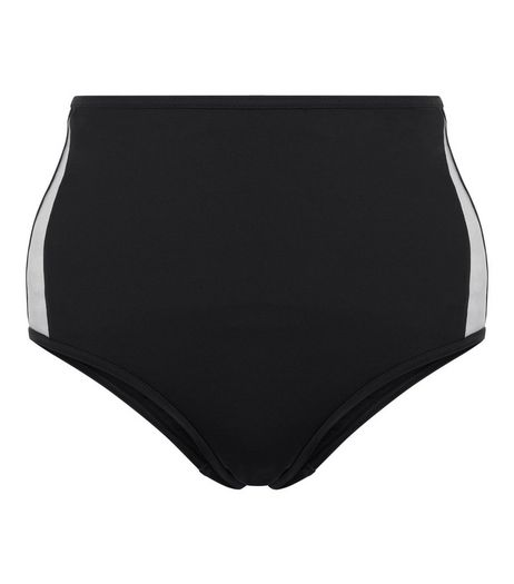 Black Mesh Panel Side High Waist Bikini Bottoms | New Look