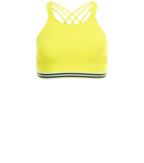 Yellow Stripe Trim Strappy Bikini Top | New Look