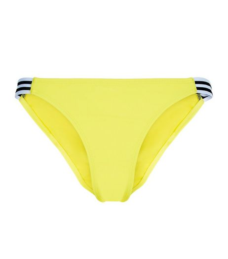 Yellow Stripe Strappy Side Bikini Bottoms  | New Look