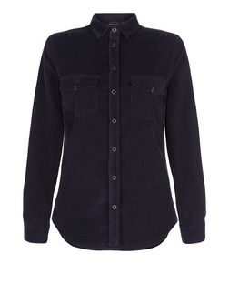 Navy Cord Double Pocket Long Sleeve Shirt  | New Look