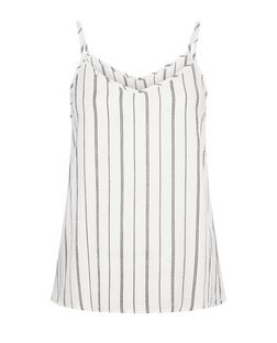 White Pinstripe V Neck Cami  | New Look