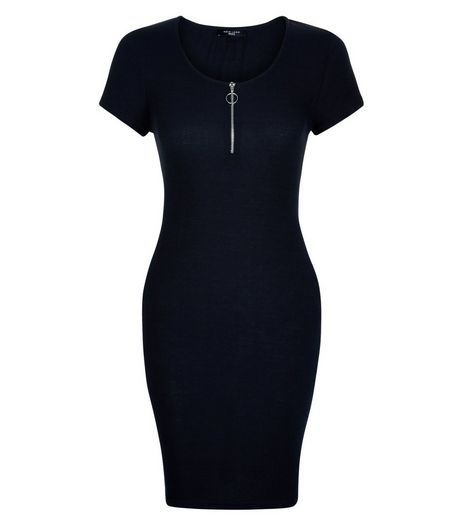 Petite Black Zip Front Bodycon Dress | New Look