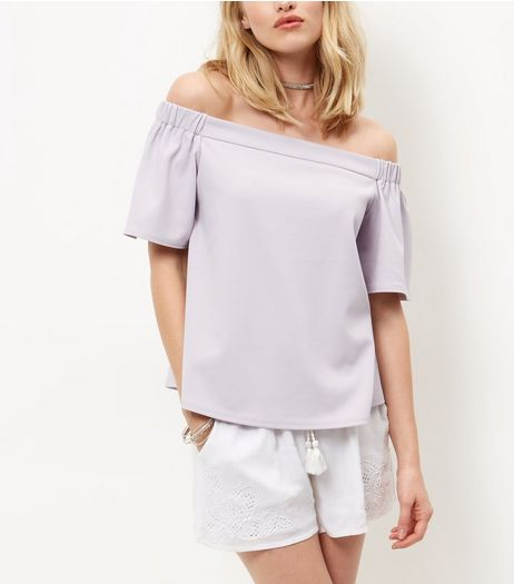 Tall Mid Pink Crepe Bardot Neck Top | New Look