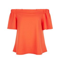 Tall Orange Crepe Bardot Neck Top | New Look