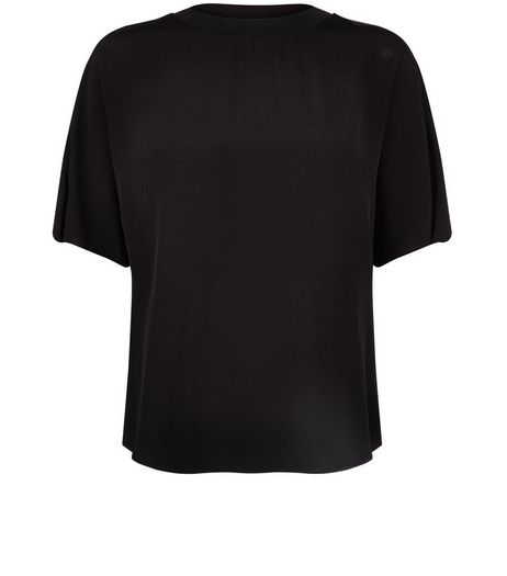 Black Dip Hem T-Shirt | New Look