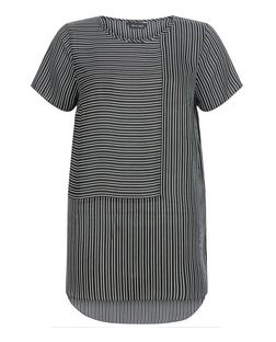 Black Contrast Stripe Dip Hem T-Shirt  | New Look