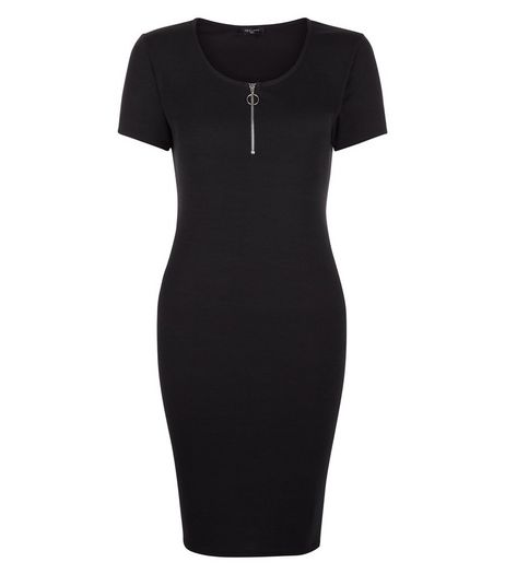 Tall Black Zip Front Bodycon Dress | New Look