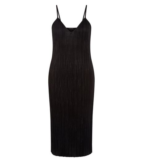 Petite Black Pleated Slip Dress | New Look
