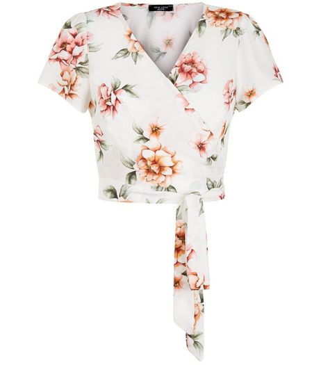 Petite White Floral Print Wrap Front Tie Side Crop Top  | New Look