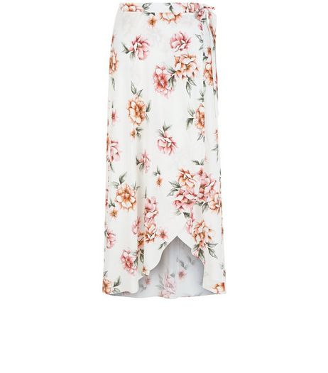 Petite White Floral Print Wrap Maxi Skirt | New Look