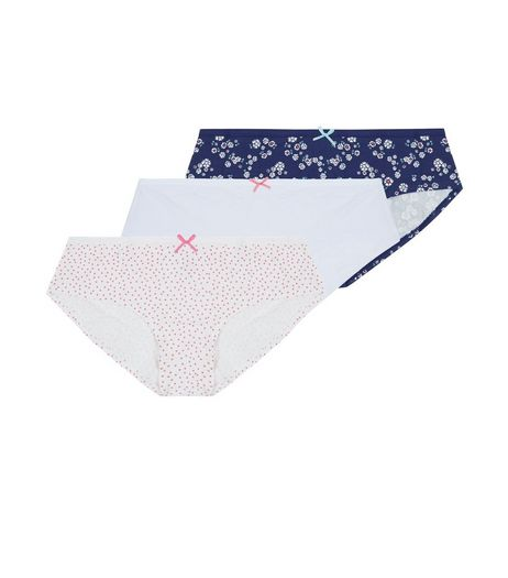Teens 3 Pack White Pink and Blue Briefs | New Look