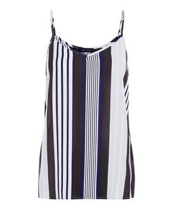Blue Stripe V Neck Cami  | New Look