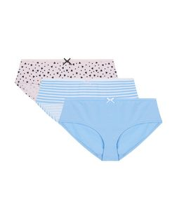 Teens 3 Pack Blue and Pink Stripe Heart Print Briefs | New Look