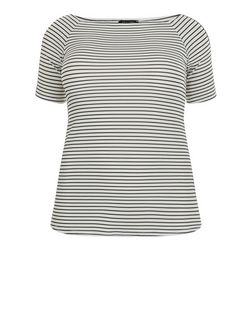 Curves Black Stripe Bardot Neck T-Shirt | New Look