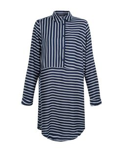 Navy Contrast Stripe Longline Shirt  | New Look