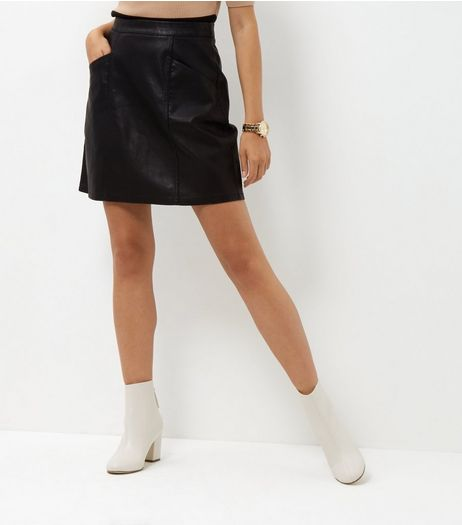 Tall Black Leather-Look Skirt | New Look