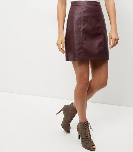 Tall Burgundy Leather-Look Skirt | New Look