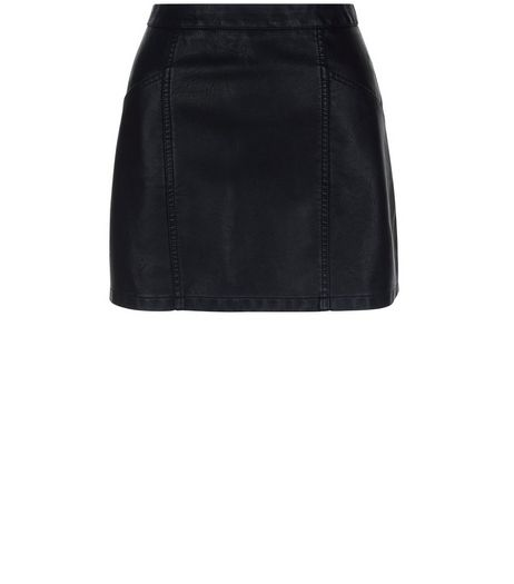 Petite Black Leather-Look Skirt | New Look