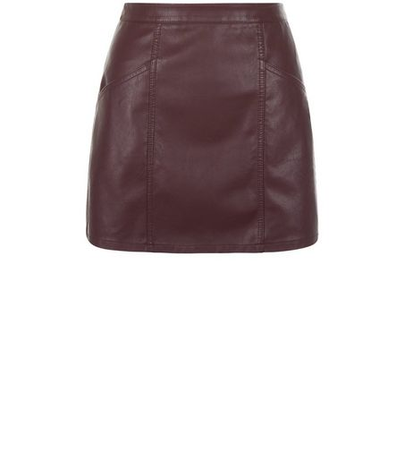 Petite Burgundy Leather-Look Skirt | New Look