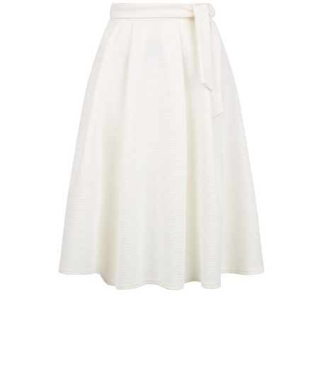 Cream Tie Waist Midi Skirt  | New Look