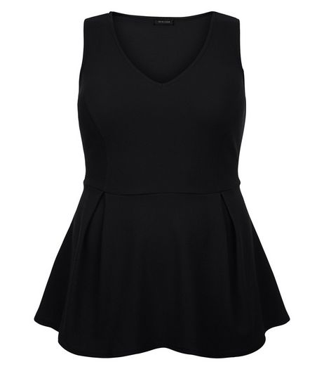 Curves Black Peplum Top | New Look