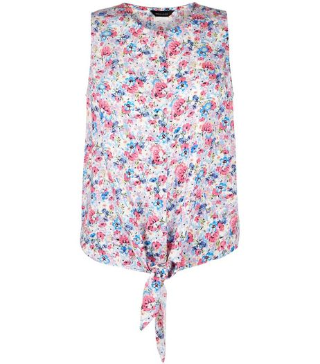 Pink Ditsy Floral Print Tie Front Sleeveless Top  | New Look