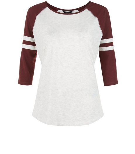 Burgundy Stripe Sleeve Raglan T-Shirt  | New Look