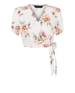 White Floral Print Wrap Front Tie Side Crop Top  | New Look