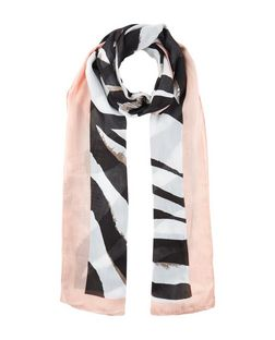 Black Zebra Print Panel Longline Scarf | New Look