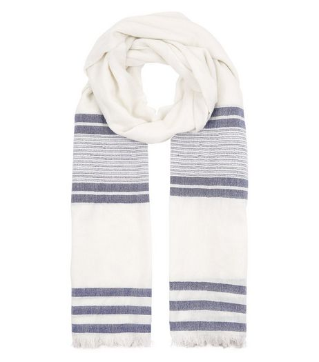 Blue and White Wide Stripe Longline Scarf | New Look