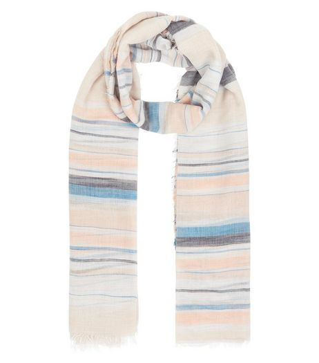 Pink Stripe Longline Scarf | New Look