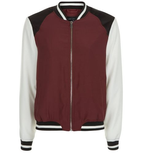 Teens Burgundy Contrast Sleeve Bomber Jacket | New Look