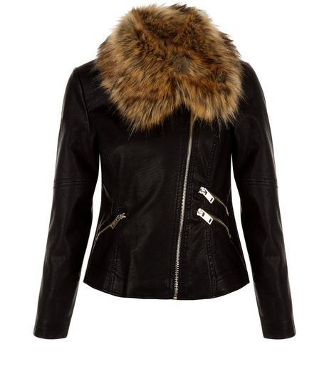 Petite Black Faux Fur Collar Biker Jacket | New Look