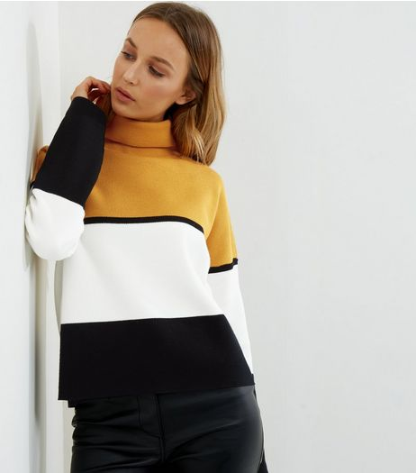 Yellow Colour Block Funnel Neck Jumper | New Look