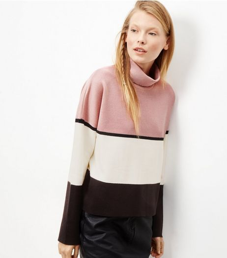 Pink Colour Block Turtle Neck Long Sleve Top  | New Look