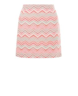 White Woven Zig Zag A-Line Skirt  | New Look