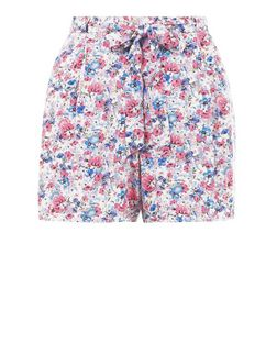 Blue Ditsy Floral Print Tie Waist Shorts  | New Look