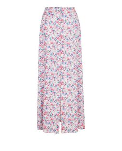 Blue Ditsy Floral Print Button Front Maxi Skirt  | New Look