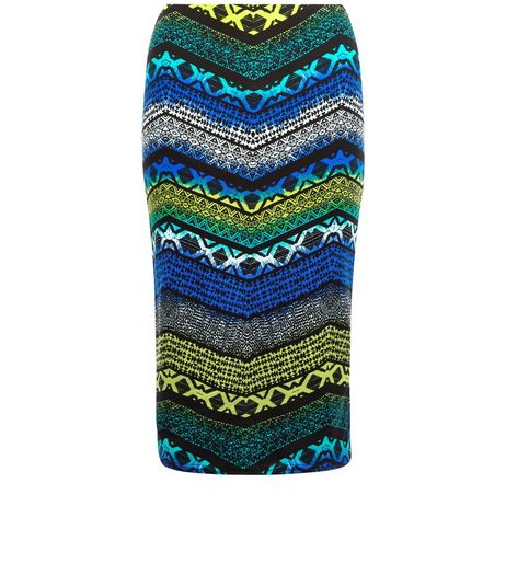 Blue Tribal Zig Zag Print Pencil Skirt  | New Look