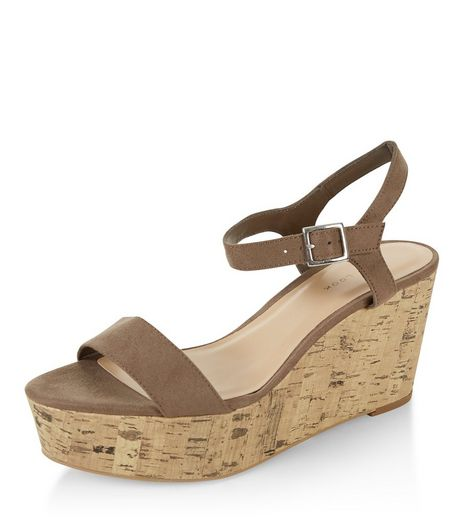 Light Brown Suedette Ankle Strap Contrast Flatform  | New Look
