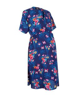 Maternity Blue Floral Print Wrap Dress  | New Look