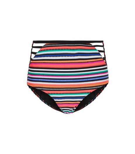 Multicoloured Stripe High Waist Bikini Bottoms | New Look