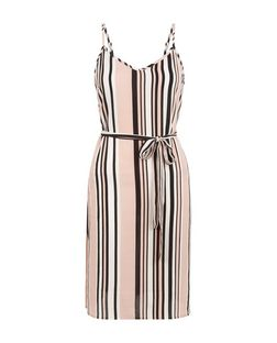 Petite Pink Stripe Belted Slip Dress | New Look
