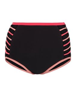 Black Contrast Trim High Waist Bikini Bottoms  | New Look