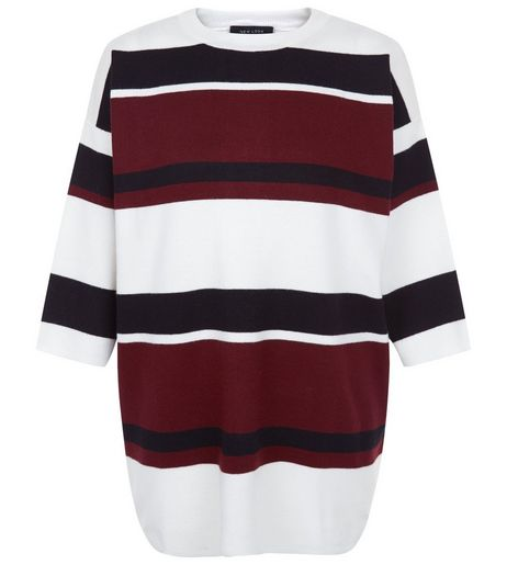 Purple Colour Block Stripe Dip Hem Knitted Top | New Look