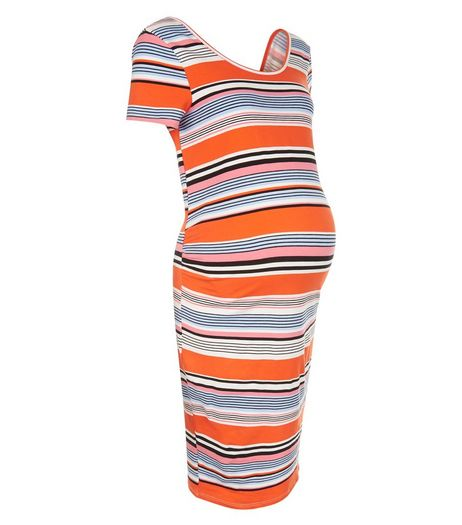 Maternity Pink Stripe Bodycon Dress | New Look