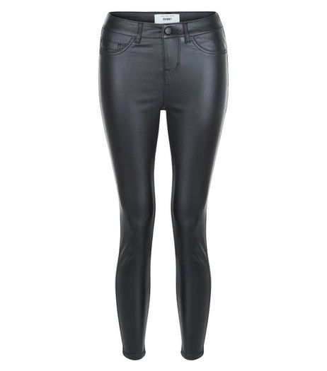 Petite Black Coated Super Skinny Jeans  | New Look
