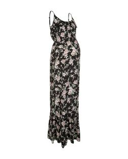 Maternity Black Floral Print Frill Trim Maxi Dress | New Look